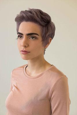 short haircut, lila Haar, kurzes Haar, Trendhaarfarbe, Woman